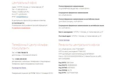 Альфа банк адрес в москве центральный офис